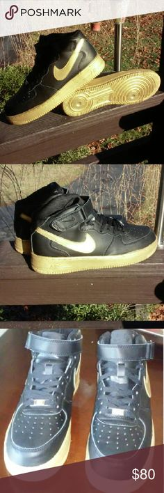 NEW CUSTOM AIR FORCE 1S CUSTOM BLACK AND GOLD AF1S. ANGELUS LEATHER DYE WITH PROTECTIVE WATER RESISTANT SEALANT. Nike Shoes Sneakers