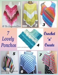 Seven free crochet pattern round up for ponchos, great for slipping on when evenings go cooler. #crochet