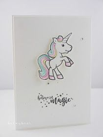 Stampin with Beemybear: Einhorn, believe in magic, unicorn Unicorn Birthday Cards, Unicorn Party, Calligraphy Doodles, Unicorn Pictures, Unicorn Gifts, Card Making Inspiration, Kids Cards, Scrapbook Cards, Cardmaking