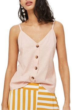 Button Through Camisole Top, Main, color, Pink