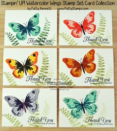 Stampin Up Watercolor Wings butterfly set on handmade note cards by Patty Bennett - how to stamp several different color combos with this stamp set.