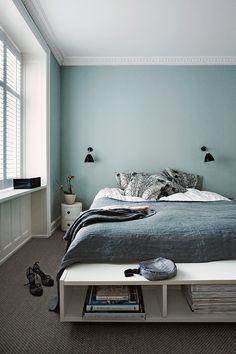 Interior Design Ideen bedroom-wall-design-bedroom-paint-ideas-mint-color The Home Improvement Contra Best Paint Colors, Bedroom Paint Colors, Gray Bedroom, Trendy Bedroom, Bedroom Decor, Gray Bedding, Wall Colors, Design Bedroom, Simple Bedrooms