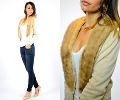 vanilla CASHMERE sweater CARDIGAN w/ genuine by discoleafvintage, $88.00