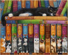 Cat Double Bookshelf by Randal Spangler