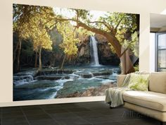 Scenic View of a Waterfall on Havasu Creek Wall Mural – Large