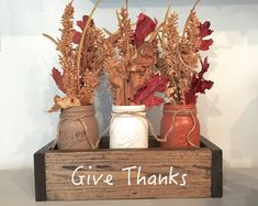 Planter Box Fall Centerpiece with Mason Jars-Give Thanks – The Wooden Owl Diy Thanksgiving Centerpieces, Thanksgiving Crafts, Fall Crafts, Diy Crafts, Autumn Centerpieces, Thanksgiving Videos, Thanksgiving Punch, Thanksgiving Messages, Thanksgiving Pictures