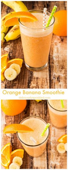 A delicious, healthy Orange Banana Smoothie. I make this smoothie all the time! Smoothies Banane, Yummy Smoothies, Juice Smoothie, Breakfast Smoothies, Smoothie Drinks, Yummy Drinks, Healthy Drinks, Healthy Snacks, Healthy Eating