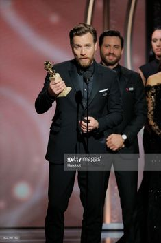 """In this handout photo provided by NBCUniversal, Ewan McGregor accepts the award for Best Performance by an Actor in a Limited Series or Motion Picture Made for Television for """"Fargo"""" during the 75th Annual Golden Globe Awards at The Beverly Hilton Hotel on January 7, 2018 in Beverly Hills, California."""