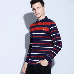 Striped Print Patchwork Long Sleeve Loose Leisure Business Polo Shirt for Men 2017 Fashion Plus Size Camisas Gola Polo Masculina