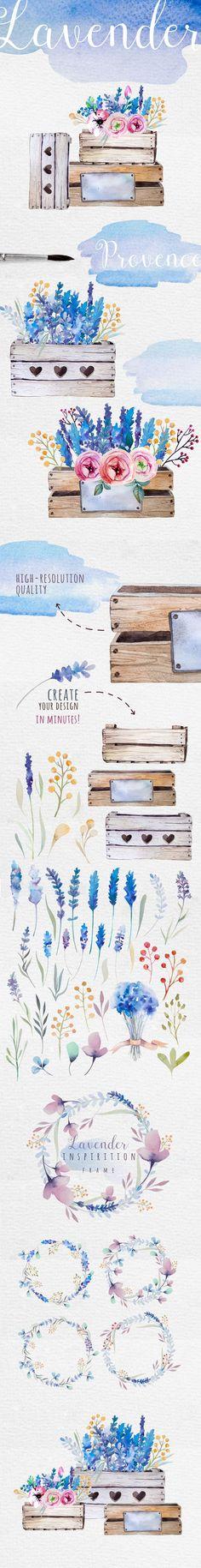 Lavender watercolor DIY by Peace ART on Creative Market #watercolor #design #lavender