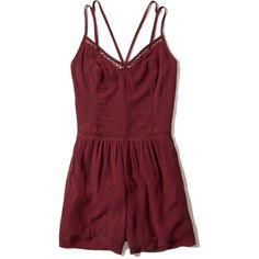 Hollister Strappy Woven Romper ($40) ❤ liked on Polyvore featuring jumpsuits, rompers, burgundy, fitted tops, v neck romper, red rompers, playsuit romper and burgundy romper