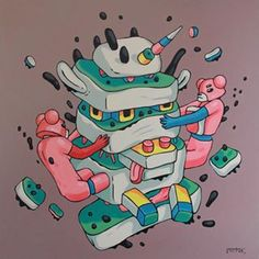 Unicorn - 80x80cm Acrylic painting on canvas oct.2017 @dadasalonartgallery #exhibition #artwork #acrylicpainting #painting #unicorn #illustration #acryliconcanvas #fineart #popsurrealism #lowbrow #bulentgultek