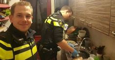 Dutch police doing dishes after a mother of two children was rushed to the hospital. #respect