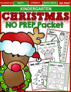 Christmas NO PREP Packet for Kindergarten! - This Christmas packet requires NO PREP and is filled with hands-on, interactive and FUN resources!.  A GIVEAWAY promotion for Christmas NO PREP Packet (Kindergarten) from TheMoffattGirls on TeachersNotebook.com (ends on 12-3-2013)