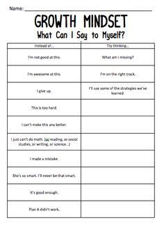 "Growth mindset worksheet - changing negative thoughts into positive ones . I love how even the positive but stagnant thought ""I'm awesome at this"" can be changed to remind students that we are all growing. Self Esteem Activities, Counseling Activities, Counseling Worksheets, Social Work Activities, Self Esteem Worksheets, Group Therapy Activities, Coping Skills Activities, Cbt Worksheets, Therapy Ideas"