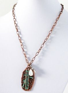Cross Blessed Necklace Copper Green Patina Cross by BijiJewelry