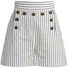 Zimmermann Zephyr striped cotton and linen-blend shorts ($315) ❤ liked on Polyvore featuring shorts, zimmermann, stripe shorts, nautical shorts, striped cami and striped shorts