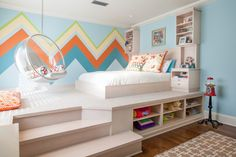 Elevated platform bed kids contemporary with orange accent color platform bed