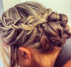 Braided updo you can't really see the braids if you have brown hair :/