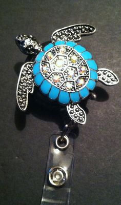 Retractable ID Badge Reel...Great Gift for anyone that wears ID Badge !  Turtle Bling