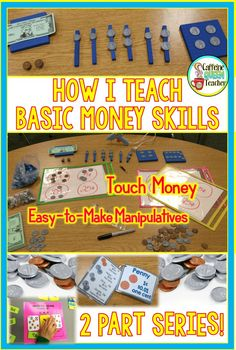 Teach basic money skills and coin counting to students using differentiated hands-on activities! These are life skills for all learners. Teachers can add easy tips to increase learning - especially for struggling students and special education. Counting Coins, Counting Money, Skip Counting, Money Activities, Math Resources, Teaching Strategies, Teaching Tips, Touch Math, Teaching Money
