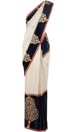Navy red and white saree