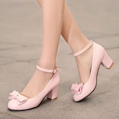 Cute Ladies Bow Tie Block High Heel Pumps Mary Jeans Ankle Strap Shoes Plus Size