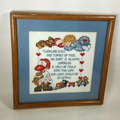 Little Boys Framed Completed Cross Stitch Trains Bears Bedroom Nursery Decor #BedroomDecoration