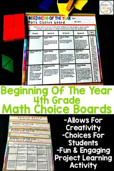 These math choice boards give students the opportunity to be creative, have choices and are fun and engaging activities. This activity is helps new 4th graders review 3rd grade common core standards and helps teachers learn gaps of students.  Comes with sample lessons plans, menu board, project rubric and more.  Great strategy to teach math in your classroom.  #math #mathchoiceboards
