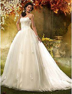A-line Princess Spaghetti Straps Tulle Wedding Dress. Get unbelievable discounts up to 70% Off at Light in the box using Coupons.