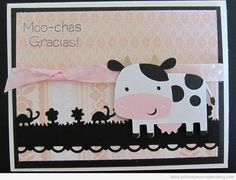 This Cricut Cow Card was made using the Create A Critter Cricut Cartridge and My Pink Stamper sentiment. What a great farm thank you card.