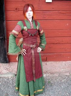 Viking woman - a different take on the outfit, apron dress has slits up to hip and the arm cuffs are a different approach also