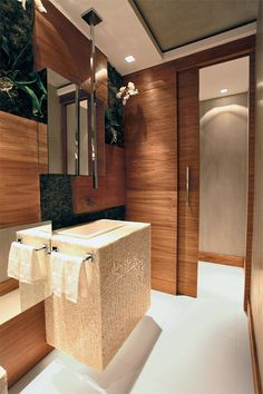 Washbasin: 60 decoration pictures and lavatory designs - Decoration, Architecture, Construction, Furniture and decoration, Home Deco Wooden Bathroom, Bathroom Furniture, Small Bathroom, Dream Bathrooms, Beautiful Bathrooms, Bathroom Mixer Taps, Lavatory Design, Decorating With Pictures, Decoration Pictures