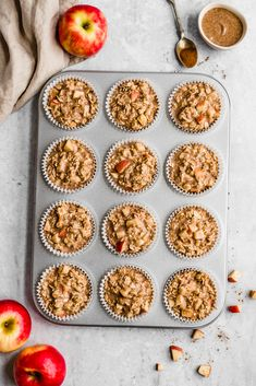 Almond Butter Apple Cinnamon Baked Oatmeal Cups Easy apple cinnamon baked oatmeal cups made with applesauce, fresh apples, oats, maple syrup and almond butter for a boost of protein + flavor. Freezer-friendly, great for kids or meal prep! Apple Cinnamon Oatmeal, Cinnamon Apples, Creamy Peanut Butter, Almond Butter, Oatmeal Recipes, Apple Recipes, Healthy Baking, Healthy Snacks, Healthy Muffins