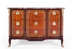 TRANSITION COMMODE WITH THREE DRAWERS AND MARBLE TOP