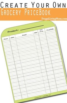How to Create Your Own Grocery Price Book #Free Printable
