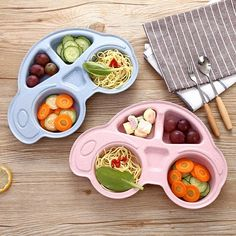 3pc//Set Baby Kids Wheat Straw Healthy Dinner Plate Divided Food Lunch Trays Bowl