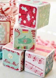 Whimsical Christmas Decorative Blocks by birdsANDblossomsGift, $16.00
