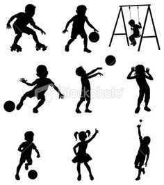 silhouette children at play