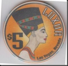 This chip from the Luxor casino features Queen Nefertiti, wife of Pharaoh Akhenaten.