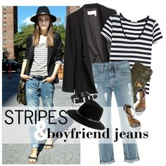 """""""Look of the Day: Stripes & Boyfriend Jeans"""" by mychanel on Polyvore"""