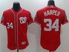 2017 Spring Training Washington Nationals Mens Jersey 34 Bryce Harper Red Team Jersey Flexbase Collection Baseball Jersey