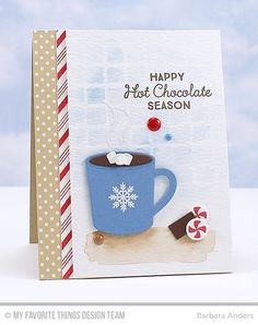 Card by Barbara Anders (110315) [My Favorite Things (dies) Die-Namics LLD Hot Cocoa Cups; (stamps) Candy Stripes Backgroup Builder, LLD Hug In a Mug; and (stencils) Large Grid]