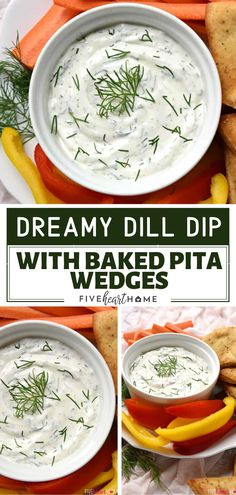 Dreamy Dill Dip with Baked Pita Wedges Dreamy Dill Dip with Baked Pita Wedges makes a great holiday appetizer for a crowd! This recipe features a base of Greek yogurt and sour cream flavored with fresh dill. It is the best dip to go with pita chips, crunc Appetizers For A Crowd, Holiday Appetizers, Appetizer Dips, Best Appetizers, Appetizer Recipes, Holiday Recipes, Dinner Recipes, Yogurt Dip For Veggies, Dill Veggie Dips