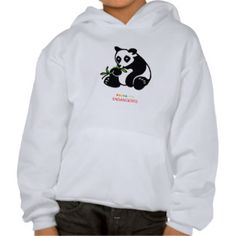 Panda illustration on a kids/youth hoodie,from WildthingsWorldWide range of endangered animal merchandise with 25% of sales donated to animal welfare organizations. See website for over 40 animal designs. www.wildthingsworldwide.com.au