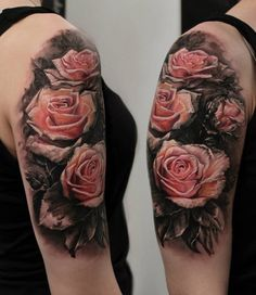 3D Pink rose tattoo half sleeve tattoo - 120 Meaningful Rose Tattoo Designs