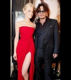 Amber Heard and Johnny Depp are seen at  Film District's World Premiere of 'The Rum Diary' in Los Angeles on October 13, 2011