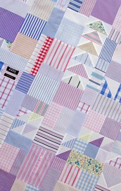 Worn and Washed - Reclaimed Shirt Fabrics Quilt
