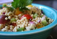 Acini di Pepe Pasta Salad ~ I've made this several times; it's a winner!  Substitute yellow or red pepper for the green pepper.