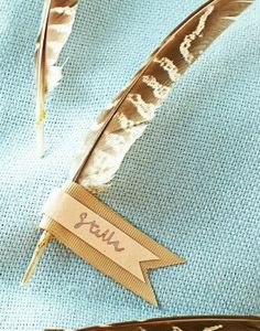 Faux pheasant feathers will make guests think of faraway places.